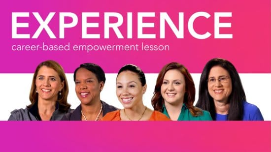 Diverse women role models smiling beneath the words Work Experience