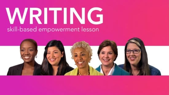 Diverse women role models smiling beneath the word writing skills