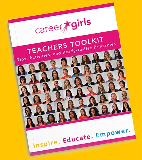 Career Girls teachers toolkit guide with drop shadow against a solid yellow background